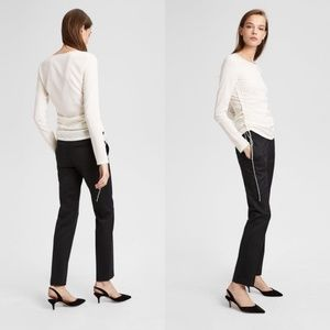 THEORY Ruched Long Sleeve Silk Blend Top